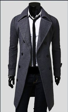 Hot Men's Trench Coat Winter Mens Long Double Breasted Jacket Warm Overcoat