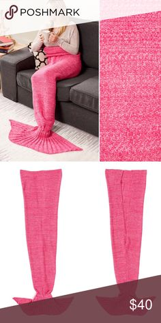 "Marbled Mermaid Tail Blanket Brand new in the plastic bag. Colors are Rose & light pink marbled. Adult - one size. Knit. Cozy and warm. Yarn. Measurement: 40""W X 74"" L. 100% acrylic. •• PRICE IS FIRM •• Moda - Up Other"