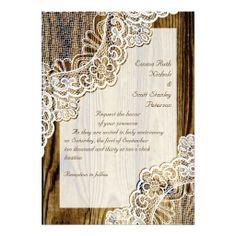 rustic elegant wedding | Elegant rustic white corner lace on wood wedding custom invites ...
