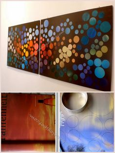 DIY Wall Art from Magazines - interesting...want to do this w/ just greys, blues and greens. Instructions are in Italian but has pictures.
