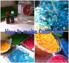 How to Make Color Rice for Sensory Play from Powerful Mothering