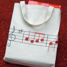 Creative musician bag, bolsa de tela con notas musicales