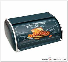 Original panera azul de metal Boulangerie. Decoración de cocinas retro / vintage - WWW.DECORATECA.COM