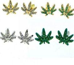 Marijuana Black Bling Mens Stud Cannabis Iced Red Crystals Weed Leaf Earrings