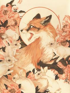 """""""The Cup Of His Murders Is Flowing Over And In His Coat Shall Be Many Curses"""" by Teagan White, Gouache and watercolor on paper, 2017 : Art Art And Illustration, Kunst Inspo, Art Inspo, Fantasy Kunst, Fantasy Art, Animal Drawings, Art Drawings, Arte Obscura, Fox Art"""