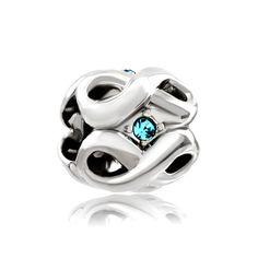 Silver Plated March Birthstone Aquamarine Blue Crystal Infinity Charm Pugster.com