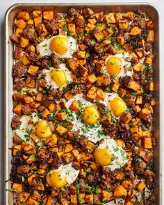 A recipe for one-skillet sweet potato hash with Italian sausage and eggs — perfect for a hearty brunch or easy weeknight dinner. It makes for one pretty amazing brunch or extra-comforting weeknight dinner. Egg Recipes For Breakfast, Brunch Recipes, Dinner Recipes, Breakfast Ideas, Paleo Dinner, Dinner Ideas, Budget Recipes, Brunch Ideas, Second Breakfast