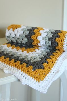 Crochet  Lovey, Mustard Yellow and Gray Cotton Baby Blanket, Modern Baby Granny Square lovey - READY TO SHIP