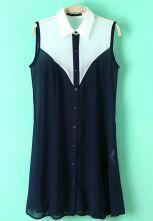 White Navy Lapel Sleeveless Buttons Chiffon Dress