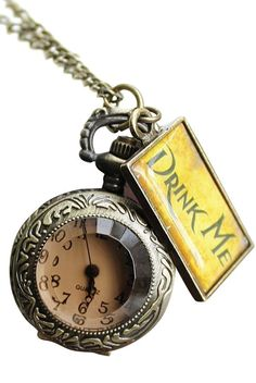 Drink Me Pocket Watch Long Necklace with Gift Box- Holiday Birthday gifts - Cosplay, costume: Clothing