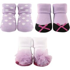 Luvable Friends Newborn Baby Girl Decorated Socks Giftset 3-Piece, Size: 0 - 9 Months, Purple