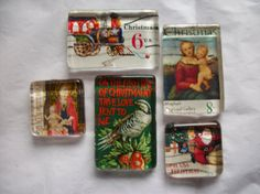 Recycled 5 Vintage Christmas US Postage Stamp Glass Magnets Upcycled Postage Art on Etsy, $5.25