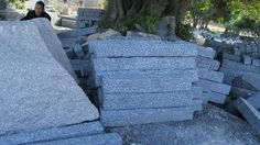 palisades of granite G654, dark grey, all sides pineappled