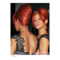 Rihanna Updo Hairstyle 2011 Back View Rihanna pictures featuring polyvore women's fashion accessories hair accessories hair rihanna red hair accessories prom hair accessories