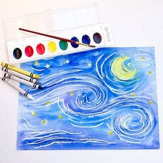 recreate Starry Night by Vincent van Gogh using crayons and watercolors