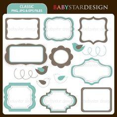 Classic Frame Clip Art by babystardesign on Etsy, $5.00