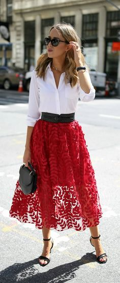 Click for outfit details! Red lace applique tulle midi skirt, classic white button down, ankle strap black sandals + studded waist belt {M2Malletier, H&M, Theory, creative office style, classic dressing} https://womenfashionparadise.com/