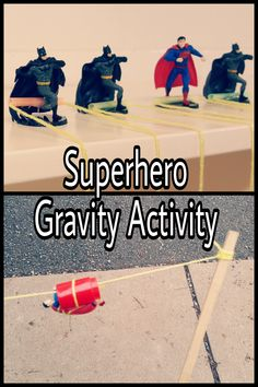 An easy introductory lesson on gravity for kids. Get kids excited to learn about science with this superhero experiment! Gravity Experiments, Gravity Science, Science Experiments Kids, Science Lessons, Lessons For Kids, Science For Kids, Science Tools, Summer Science, Superhero Preschool