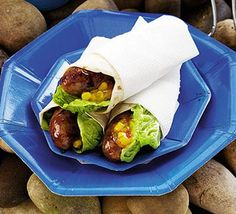These delicious rolls are filled with soft sausages, mouthwatering salsa and loads of vegetables like carrots, lettuce and onions. Mexican sausage wraps are Bbc Good Food Recipes, Other Recipes, Yummy Food, Yummy Yummy, Sausage Recipes, Pork Recipes, Recipies, Cooking Recipes, Sticky Sausages