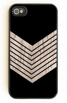 Faux Wood Chevron & Black iPhone Case <3  Alex Approved