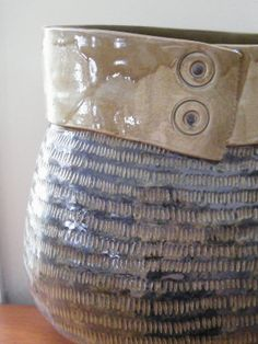BeltedCoil built Sculptural Vessel with etched by Jasminepots, $225.00