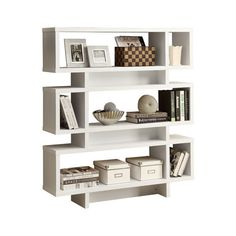 Hollow-Core Modern Bookcase, White - Modern - Bookcases - by Monarch... ❤ liked on Polyvore featuring home, furniture, storage & shelves, bookcases, modern furniture, white furniture, white book case, modern book shelves and modern bookcase