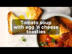 Tomato soup with egg 'n cheese toasties Cheese Toasties, Food Decorating, Food Tasting, Tomato Soup, Weeknight Meals, Food Videos, Cooking Tips, Great Recipes, Foodies