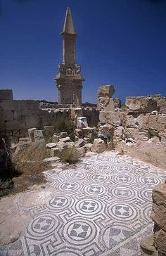 Ruins of the Mausoleum of Bes. Sabratha,  Libya showing intact floor mosaic, Roman. Picture taken by Jorge Tutor.