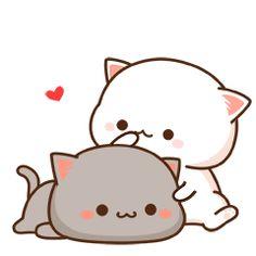 蜜桃猫 Milk and Mocha Cute Animal Drawings Kawaii, Cute Kawaii Animals, Kawaii Cat, Cute Drawings, Cute Love Pictures, Cute Love Gif, Cute Cat Gif, Cute Cats, Chibi Cat
