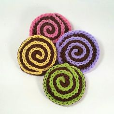 Scrubby Confections - kitchen scrubbies with tulle. Crochet pattern by Claudia Lowman. Also in plain cotton for faces.