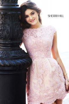 Sherri Hill- short lace pink homecoming dress Go to estellesdressydresses.com for all Sherri Hill collections