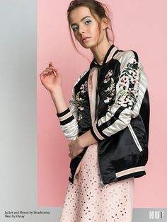 sugar and spice fashion editorial. bomber jacket stradivarius, tie neck blouse
