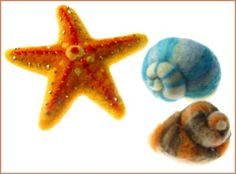 Needle Felted Sea Shells and starfish, from a class at Castles in the Air
