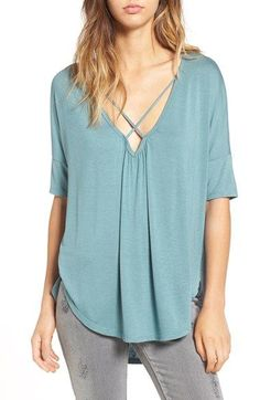 Free shipping and returns on Lush Cross Front Oversize Tee at Nordstrom.com. Narrow straps crisscross over the front V-neckline and span the plunging back of a drapey short-sleeve tee cut with a comfy oversized fit.