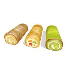 フルーツロール、抹茶ロール、普通のロールケーキのセットです。大きい画像はこちら http://seiga.nicovideo.jp/seiga/im4827448