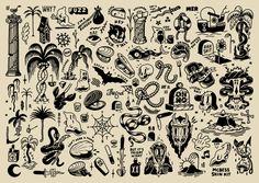 "mcbess: ""Bit of ink for yo skin "" Grunge Tattoo, Kritzelei Tattoo, Doodle Tattoo, Traditional Tattoo Black And White, Traditional Tattoo Filler, Traditional Tattoo Design, Neo Traditional, American Traditional Tattoos, Traditional Tattoo Flash Sheets"