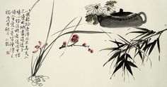 Chinese tea and bamboo Chinese painting.