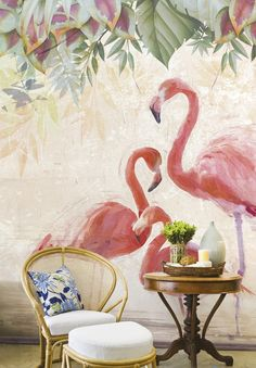 Wallpaper FLAMINGOS PARTY by Wallpepper