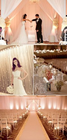 Drape and lighting transform a ballroom into a romantic ceremony space