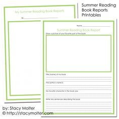 Book Reports Printables