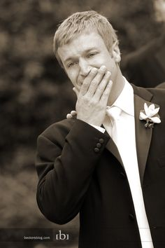 His reaction to seeing the bride. I hope someone remembers to take a picture of my husband on our wedding day <3