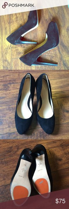 Black Cole Haan Chelsea high pumps size 6 1/2 Black pumps by Cole Haan Chelsea high pump, size 6 1/2 in black suede. Nike air technology in the soles. Honestly these are beautiful shoes and I adore them but they are way too tight on me. Never worn, new in box, comes with heel taps, dust bag and care card. Cole Haan Shoes Heels
