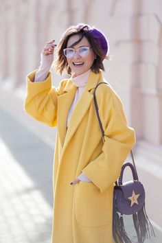 primrose yellow coat, salar bag, trending colors outfits,