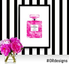 Chanel No5 Perfume Bottle Digital Fashion by ORdesigns on Etsy, $9.99 / Modern Wall Art / Watercolor Fashion Illustration