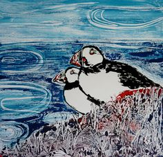 Louise Worthy 'Puffins on the Edge' Ink Monotype