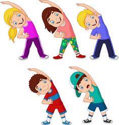 Vector illustration of Cartoon little kids exercising on white background. Math For Kids, Yoga For Kids, Exercise For Kids, Kids Cartoon Characters, Cartoon Kids, Body Parts Preschool, Physical Education Lessons, Flashcards For Kids, Kids Background