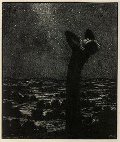 "František Kobliha, woodcut illustrations for ""May"" by Karel Hynek Mácha Nocturne, Photo D Art, Design Graphique, Ink Illustrations, Wood Engraving, Macabre, Dark Art, Night Skies, Love Art"