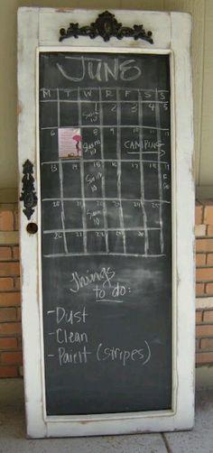 Old door - leaning chalkboard