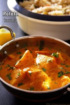 Potato (aloo) kurma - a restaurant style yellow gravy curry with aromatic Indian spices