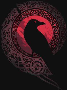 'Ragnar Lothbrok - Vikings' Poster by Dark Fantasy Art, Fantasy Kunst, Dark Art, Corvo Tattoo, Art Viking, Viking Woman, Raven Art, Raven Tattoo, Viking Tattoos